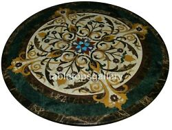 42 Marble Round Dining Table Top Precious Marquetry Inlay Restaurant Decor B320