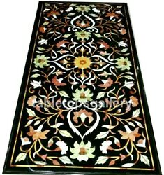 4'x2' Marble Dining Table Top Precious Floral Inlay Furniture Arts Decorate B322