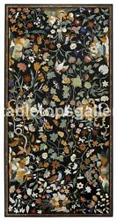 5'x3' Marble Designer Dining Table Top Multi Floral And Birds Inlay Art Decor B335