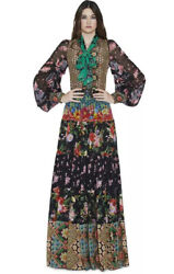 Alice And Olivia Clementine Silk Floral Printed Tiered Dress Maxi Size 4 Nwot