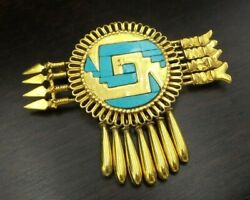Rare Vintage Native American 14k Gold And Turquoise Arrow Brooch Designer Pendant