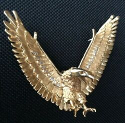 Gold American Eagle Pendent, Set With 21 Diamonds, Hand Crafted