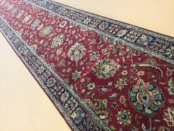 2andrsquo.4andrdquo X 20andrsquo Red Blue Traditional Hand Knotted Oriental Rug Long Narrow Runner