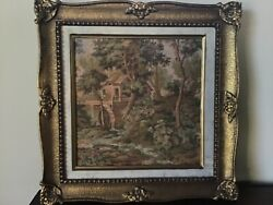 """Antique 13.5"""" French Victorian TAPESTRY in Ornate Gold GILT Carved Wood Frame"""