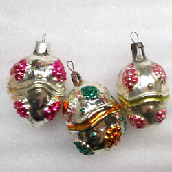 3 Antique Vintage Russian Glass Christmas Ussr Tree Old Ornaments Decorations