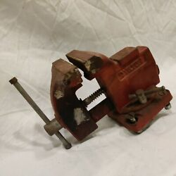 Vintage Wilton Swivel Anvil Vise 3-1/2''jaws,cast Iron Bench Vise With Pipe Grip