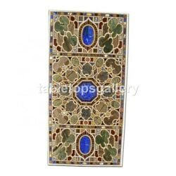 4and039x3and039 Black Marble Center Dining Table Top Lapis Inlay Arts Hallway Decor B349a