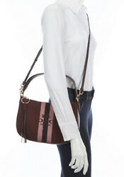 Coach Horse And Carriage Jacquard Sutton Oxblood/gold Crossbody Brand New🌹