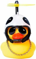 Game Play Rubber Duck Cute Yellow Wind-breaking With Propeller Helmet,car Orname