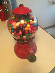 Vintage Antique Gumball Machine 100 Years Old Original Red With Round Glass Dome