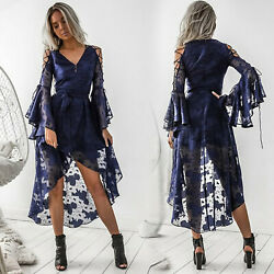 Womens V Neck Punk High Low Dress Strappy Bandage Evening Formal Party Cocktail $18.99