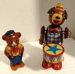 Tin Lithographed Wind Up Chein Bear And Wind Up Japan Walking Drummer
