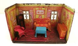 Tin Lithographed Marx Honey Moon Cottage With 5 Pieces Of Matching Furniture