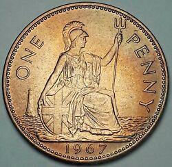 1967 Great Britain 1 One Penny Unc Color Gem Beautiful Bu Toned Choice Dr
