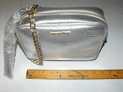 NEW Victoria Secret Silver Evening Bag Purse Gold Chain Snake Skin $14.95
