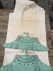 """Vintage Embroidered Pillowcases Pair 19x28"""""""
