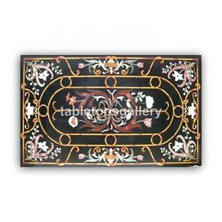 4and039x3and039 Marble Dining Table Tops Precious Floral Inlay Work Furniture Decor B396a