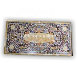 6'x3' Marble Conference Table Top Pietra Dura Mosaic Inlay Office Decorate B403a