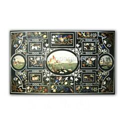 5and039x3and039 Marble Dining Table Tops Multi Floral And Birds Inlay Restaurant Decors B416