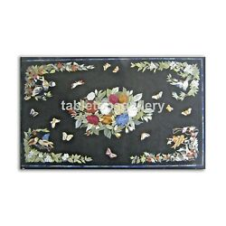 28x55 Marble Dining Table Top Multi Floral And Birds Inlay Restaurant Decor B425