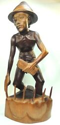 Hand Carving Wood Balinese Art Figural Statue Worker Male Farmer On Rice Farm.