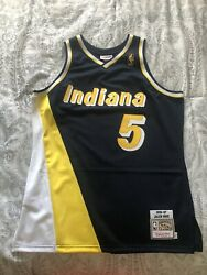Rare Jalen Rose Indiana Pacers Gold Nba Logo Jersey Mitchell And Ness Authentic L