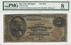 5 1882 Brown Back The First National Bank Bay City Mi Ch2853 Fr472 Pmg Vg8
