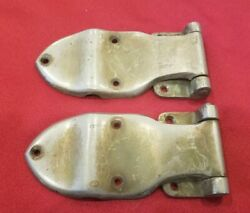 Pair Vtg Antique Offset Icebox Ice Box Hinges Nickel Over Brass Heavy - H