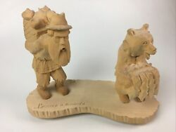 Russian Wood Carving - Bear And Man Carrying Supplies - Artist Signed - 16 X 12