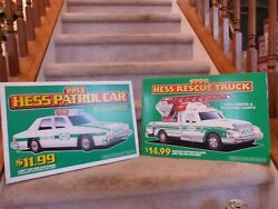 Vintage 1993 Hess Toy Patrol Carand Rescue Store Display Pump Topper Sign 18x12
