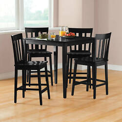 Black 5-piece Counter-height Wood Dining Table And 4 Chair Set Breakfast Nook