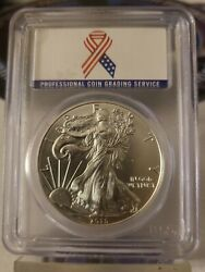2015-w Ase - First Strike - Pcgs Ms70 Rare Patriotic Support Ribbon Label...