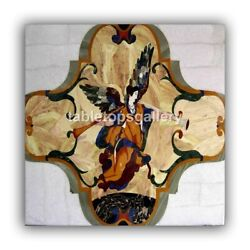 24 Marble Designer Coffee Table Top Mosaic Angel Inlay Art Cafeteria Decor B448