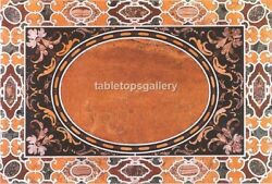 4and039x3and039 Pietra Dura Inlaid Art Black Marble Dining Table Top Furniture Decor B465