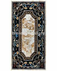 32x60 Marble Top Dining Table Inlaid Pietra Dura Marquetry Art Decorative B497