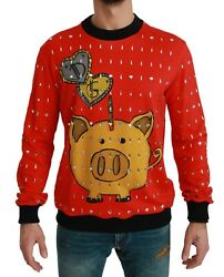 Dolce And Gabbana Red Sweater Crystal Pig Of The Year It46 / Us36 / S Rrp 5600