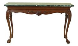 50645ec Chippendale Mahogany Green Marble Top Ball And Claw Console Table