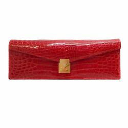 Lana Marks Concord Red Alligator Skin Leather Clutch