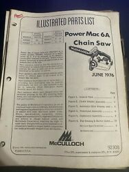 Mcculloch Illustrated Parts List Power Mac 6a Chainsaw 1976h4
