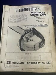 Mcculloch Illustrated Parts List Mini Chainsaw 1973 Model 600080, 600081 H4