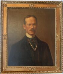 Antique 19 Century Oil Painting On Canvas, Portrait Of A Gentleman, Unsigned