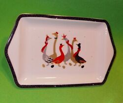Portmeirion Sara Miller London Small Porcelain Serving Tray With Colorful Geese.