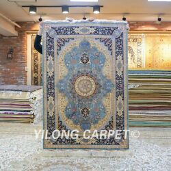 Yilong 4'x6' Blue Handmade Carpets Classic Hand Knotted Silk Area Rug Z504a