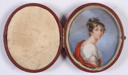 Franziska Schoepfer-attrib.portrait Of A Young Lady Miniature In Case1800/05