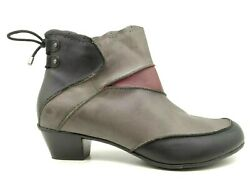 Aetrex Multi-color Leather Zip Up Block Heel Ankle Boots Shoes Women's 8.5 M