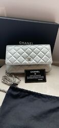 Pre Owned Authentic Chanel Wallet On The Chain Classic Silver Bag Clutch $1800.00