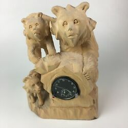 Russian Wood Carving With Mig Clock - 3 Bears On Rock - 16 X 14 X 10 Signed