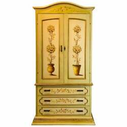 French Provincial Hand Painted Armoire Or Cabinet