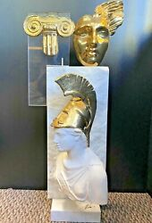 Yiannis Ceramic Gold And Marble Mask Art Statue Limited Signed W/ Coa