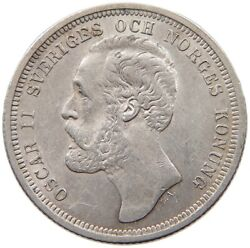 Sweden Krona 1889 Lock Of Hair Below Norges Extremly Rare T90 183